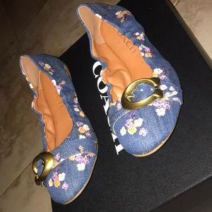 COACH Women's Stanton Ballet Flats Floral Denim